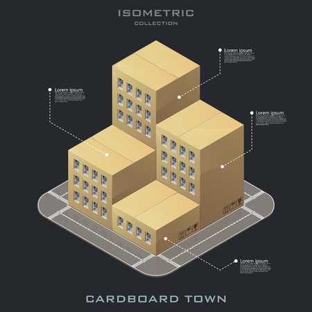 Vector isometric cardboard town icon. infographic. online shopping. Shoppin in your house 일러스트