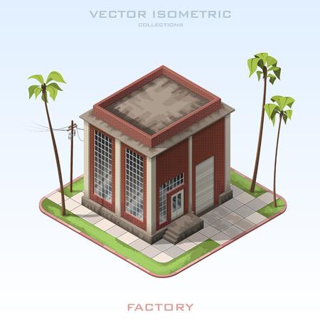 Vector isometric illustration Brick Building Factory.