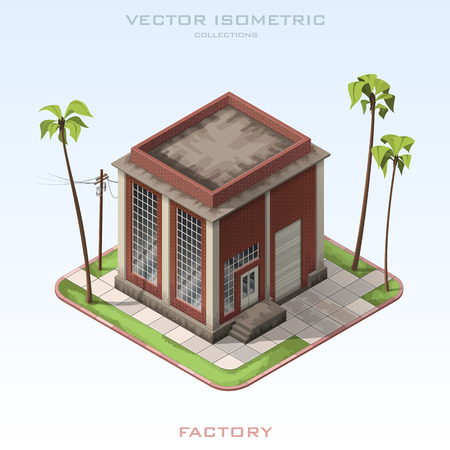 waste heap: Vector isometric illustration Brick Building Factory.