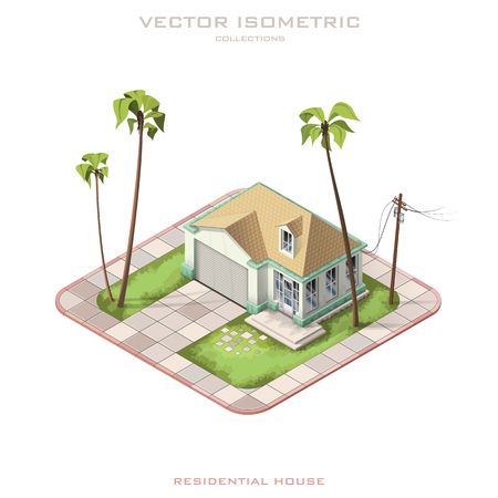 backyard: Isometric icon representing modern house with backyard