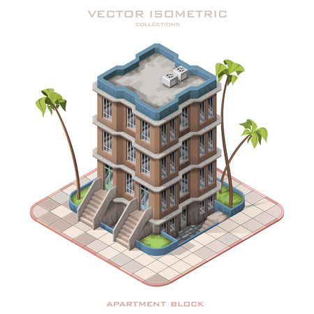 Isometric vector illustration representing multistory building