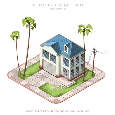 Isometric vector illustration representing two-storey residential house 일러스트