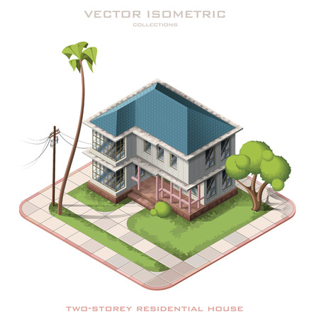Isometric vector illustration representing american house with backyard. Two-storey house.