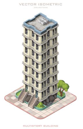 Icona isometrica illustrazione vettoriale che rappresenta edificio a più piani. Vettoriali