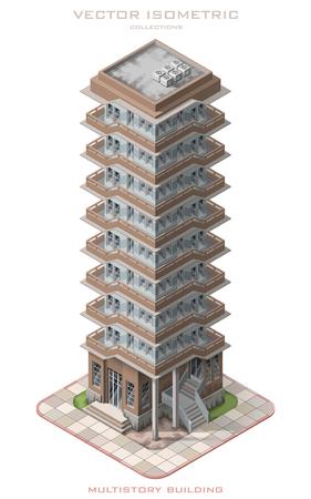 Isometric vector illustration icon representing multistory building. 일러스트