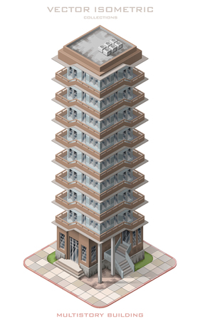 multistory: Isometric vector illustration icon representing multistory building. Illustration