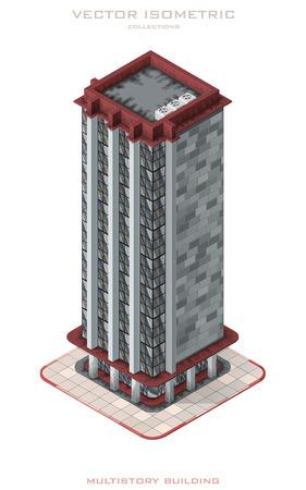 Isometric vector illustration icon representing multistory building. Illusztráció