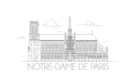 Minimalistic line-art of the Notre-Dame in Paris, France. Outline Notre Dame