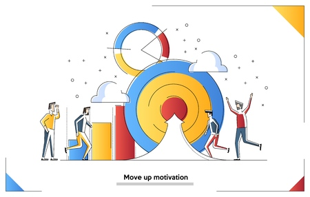 Vector illustration, people run to their goal on the column of columns, move up motivation, the path to the targets achievement Illusztráció