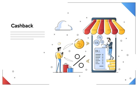 Cashback shopping vector illustration, money cash back reward for purchase from smartphone application. Web banner template with tiny people and giant smartphone 矢量图像