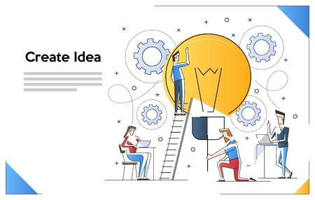 Vector illustration of searching for new ideas solutions, online assistant at work. promotion in the network. working together in the company, brainstorming Imagens - 124165224