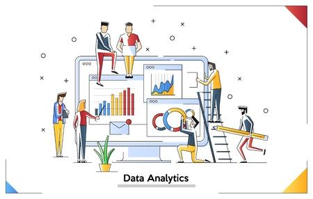 Datenanalyse modernes flaches Designkonzept. Analytik und Konzept für kleine Leute. Vorlage für die Zielseite. Konzeptionelle flache Vektorillustration für die Webseite.