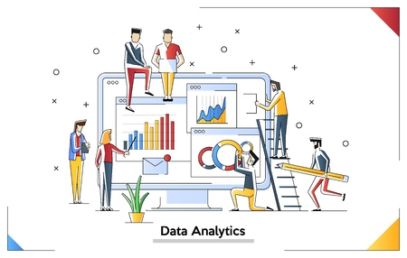 Data analysis modern flat design concept. Analytics and tiny people concept. Landing page template. Conceptual flat vector illustration for web page.
