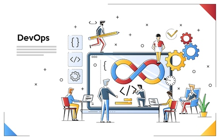Programmers at work concept. Can use for web banner, infographics, hero images. DevOps. Flat vector illustration isolated on white background. People team work together Illustration