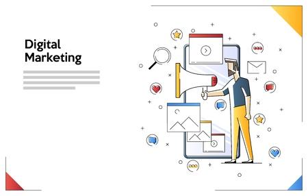 Concept de marketing numérique. Homme tenant un haut-parleur. Illustration de bannière Web avec des personnes minuscules et un smartphone géant. Illustration vectorielle plane isolée sur fond blanc.