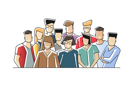 Group portrait of funny smiling office workers or clerks standing together. Team of cute cheerful male and female employees or colleagues. Colorful vector illustration in flat cartoon style. Banque d'images - 122456790