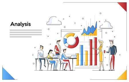 Concept de conception d'analyse de données. L'analyse fonctionne. Petites personnes avec des graphiques d'analyse de données et des graphiques. Illustration vectorielle.