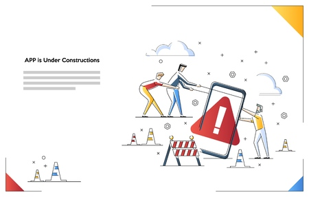 Mobile Website is under construction vector illustration concept 矢量图像