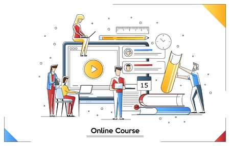 Vektorillustrationen des Online-Kurses. Video-Ausbildungen. Abbildung des Online-Bildungskonzepts. Kleine Leutecharaktere, die verschiedene Aufgaben erledigen. Vorstellung von Fähigkeiten und Internet. Vektorgrafik
