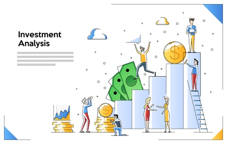 Investment analysis concept banner with characters. Can use for web banner, infographics, hero images. Flat vector illustration isolated on white background. Illustration with small people Illusztráció
