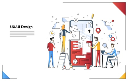 Modern flat line art concept of Build apps and websites UX UI design. Small people characters build apps.