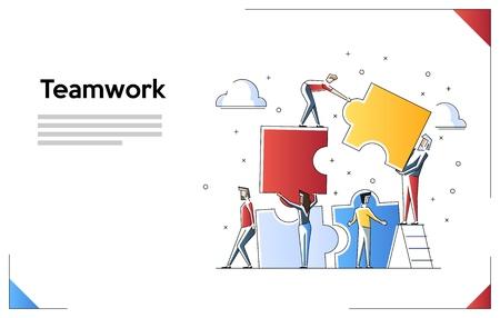 Bandera del concepto de trabajo en equipo. Se puede utilizar para banner web, infografías, imágenes de héroes. Ilustración de vector de arte de línea plana aislada sobre fondo blanco.