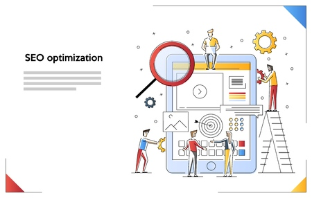 Conceptual web seo illustration. Flat line art style concept. Teamwork project, web agency or male young employee and new company project.