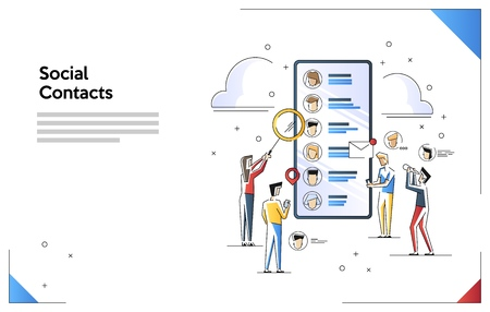 Vector illustration of contact list social network. Flat line art style concept. Small people characters doing various tasks, 免版税图像 - 124165241