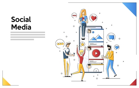 Line art illustration of young people using mobile gadgets such as laptop, tablet pc and smartphone for social networking and blogging. Web banner template with tiny people and giant smartphone.