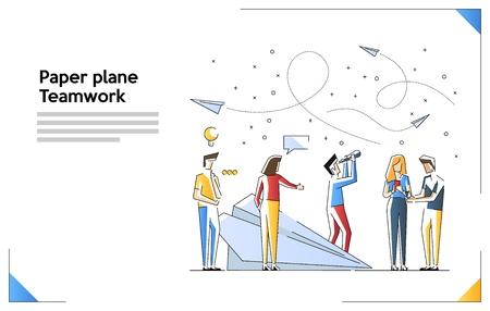 Business team en leiderschap concept vectorillustratie. Papieren vliegtuig. Moderne kleurrijke vectorillustratie. Creatieve webbannersjabloon met kleine mensen en gigantische smartphone.