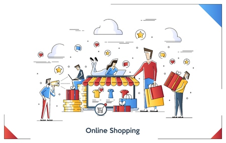 Flat line art illustration concept of Online Shopping. Vector banner, icon, illustration, landing page. Laptop Shopping. Interacting people.