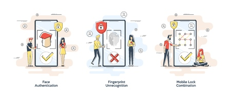 Flat linear illustrations of Biometric authentication concept. Set with privacy protection and recognition elements isolated vector illustration. Vector banner, icon, illustration for landing page.