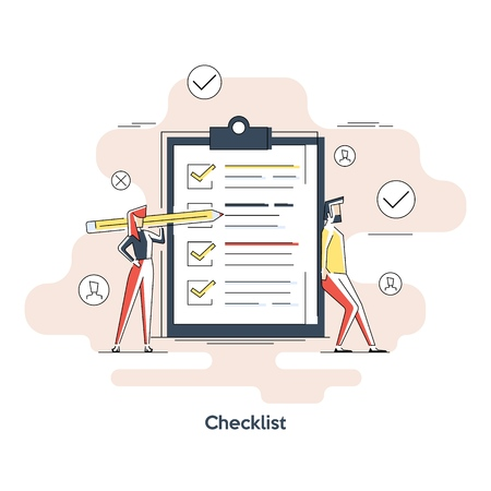 Woman holding a pencil completing checklist on clipboard. Business concept. Clipboard with checklist icon. Illustration of clipboard with checklist. banner, icon, illustration.
