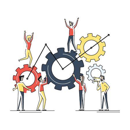 Flat geometric linear illustration. Concept of teamwork building working system of cogwheels
