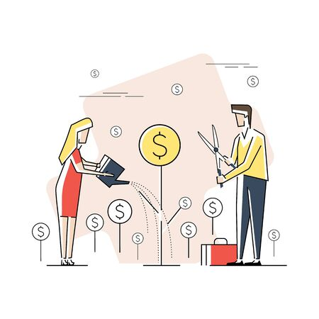 Modern Flat design people and Business concept for Investment, easy to use and highly customizable. Modern vector illustration concept, isolated on white background. Illusztráció