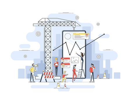 Thin line flat design of mobile app construction site, smartphone user interface building process, api coding for phone application. Flat geometric linear illustration.