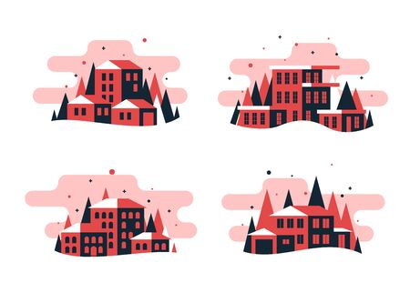 Set of flat design buildings and house 矢量图像
