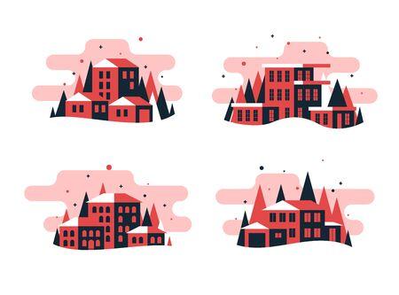 Set of flat design buildings and house Illusztráció