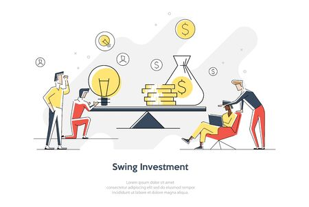A vector illustration of groups of people who inject money into an idea on a swing and outweighs it, the concept of overweight, value, purchase Stock Illustratie