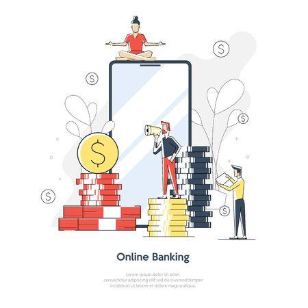 Vr, realidad virtual aumentada y concepto de banca futurista con personajes. Gadget del futuro, tecnología de teléfonos inteligentes para el pago. Ilustración de vector de personaje plano isométrico.