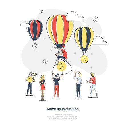 Concepto de negocio creciente dinero. Dólares y globos que crecen en el cielo. Ilustración vectorial