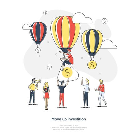Business growing money concept. Dollars and balloons growing in sky. Vector illustration