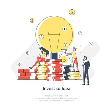 Landing page template of Invest in best idea. Modern flat design concept of web page design for website and mobile website. Easy to edit and customize. Vector illustration