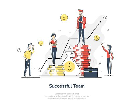 People office workers businessman on success stage. Teamwork concept. Vector flat graphic design cartoon illustration