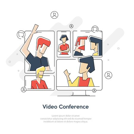 Video Meeting Online Vector. Woman And Chat. Ceo And Employees. Business Meeting, Consultation, Conference Office, Seminar, Online Training Concept. Flat lineart Isolated Illustration Geometric line Иллюстрация