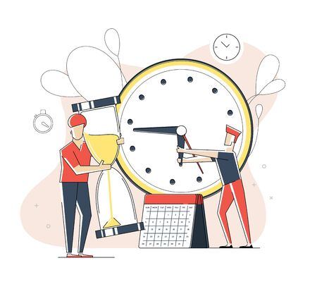 Flat linear illustration, about stop it time. Illustration for landing page. 矢量图像