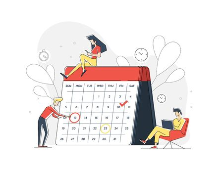 Planning. Organization tasks.Successful execution of tasks from the to check list. Man with pen and clipboard. To do list concept. Completion tasks. Illustration for landing page