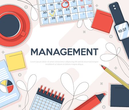 Flat linear illustration for landing page.Time management banner. Efficient use of time for implementation of the plan. Vector concept background.Top view of the workplace.
