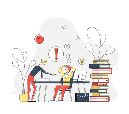 Illustration of flat linear geometric people in working stress concept. Interacting people.Illustration for landing page.