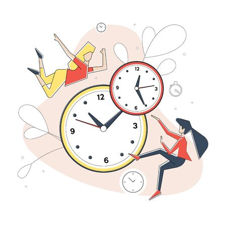 Flat geometric linear illustration, alarm clock rings on white background, concept of work time management, quick reaction awakening.Vector banner, icon, illustration for landing page.